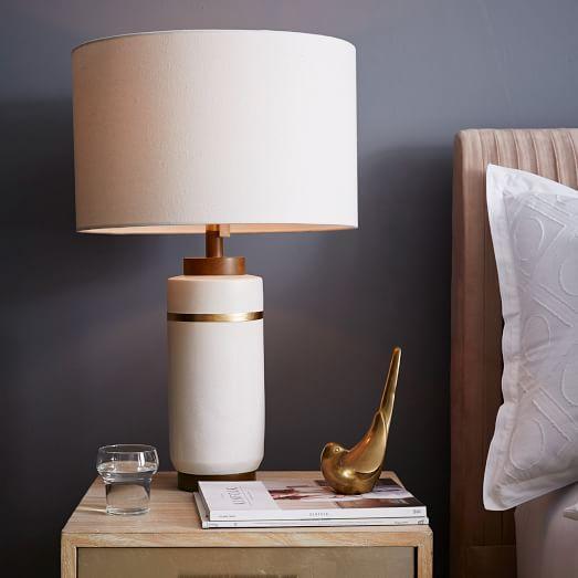 Roar And Rabbit White Crackle Glaze Large Ceramic Table Lamp