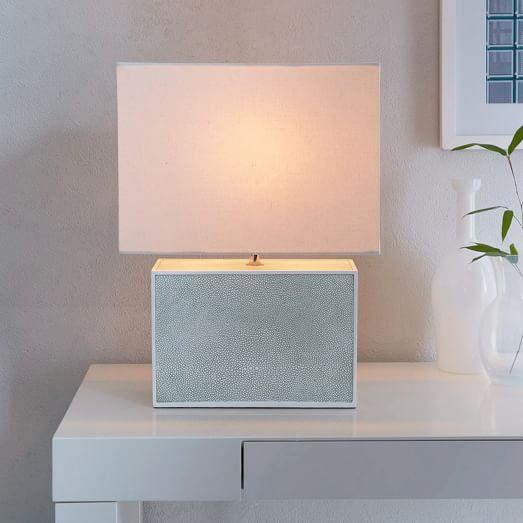 Short faux shagreen celadon table lamp aloadofball Gallery