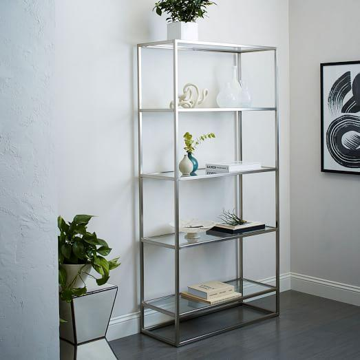 Brushed Nickel Wide Box Frame Bookshelf