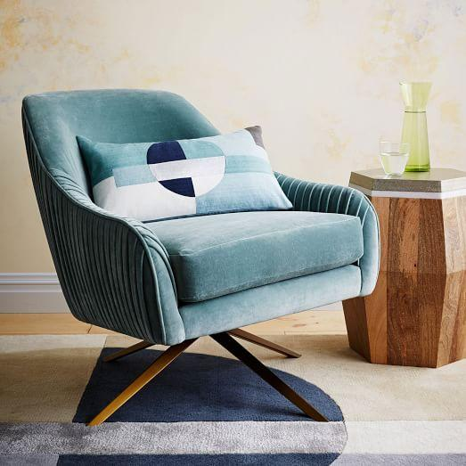 Roar And Rabbit Blue Lichen Swivel Chair