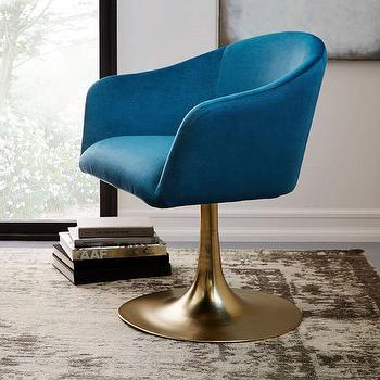 Roar And Rabbit Blue Lichen Swivel Chair