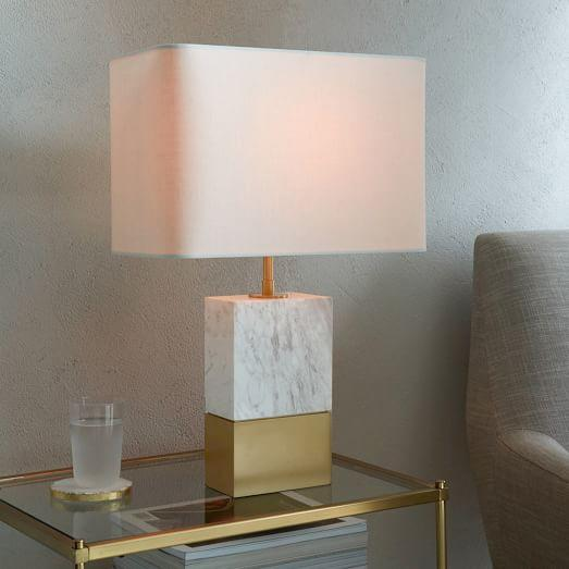 Marble And Brass Half And Half Table Lamp