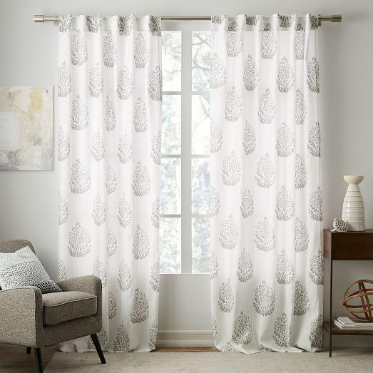 Belgian Linen Grey Medallion Printed Curtain