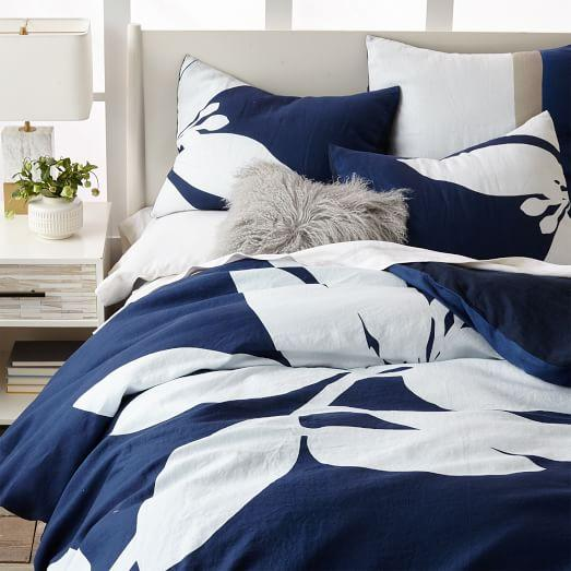 Navy Belgian Linen Silhouette Leaves Duvet Cover And Shams