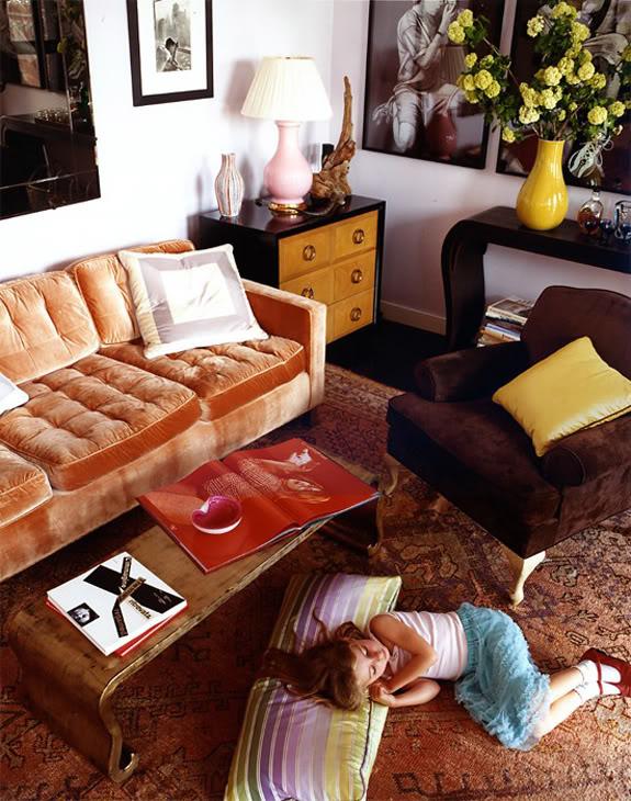 Orange Velvet Tufted Sofa With Scalamandre Simbolo Creams Greens Lavenders  Fabric Pillow