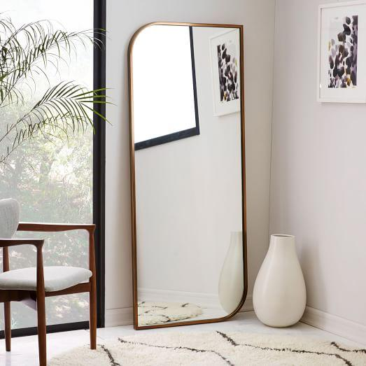 Rose gold metal framed floor mirror for Gold frame floor mirror