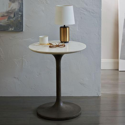 White Marble Top Concrete Pedestal Side Table