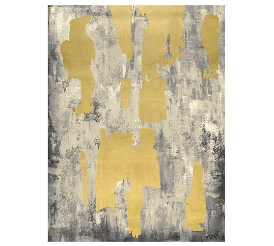 Gray With Gold Leaf Abstract Print