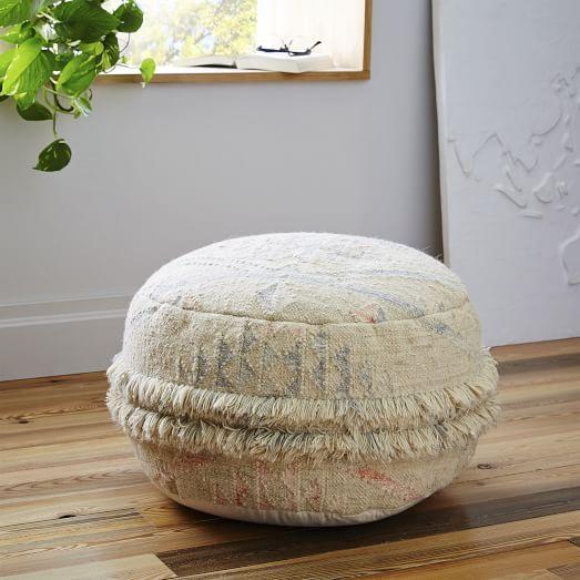 Natural Sahara Wool Pouf
