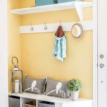 Striped Mudroom Bins Design Ideas