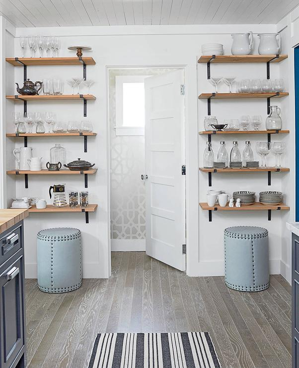 Stacked Wood And Cast Iron Kitchen Shelves