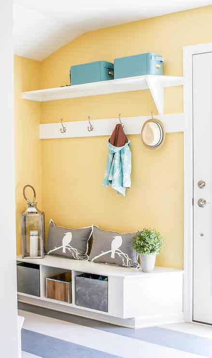 Yellow Mudroom with Blue Accents - Transitional - Laundry Room