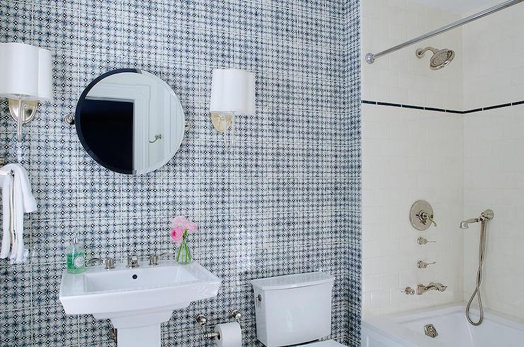 White And Blue Mosaic Tiles Design Ideas