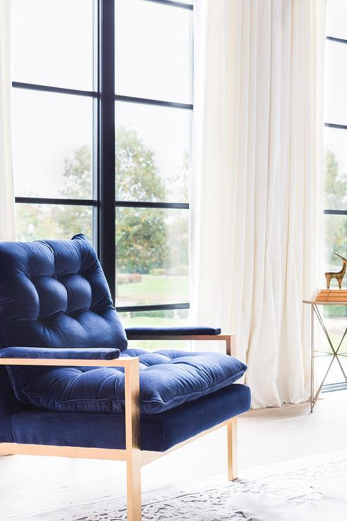 Alyssa Rosenheck Brass Accent Chair With Blue Velvet Tufted Cushions