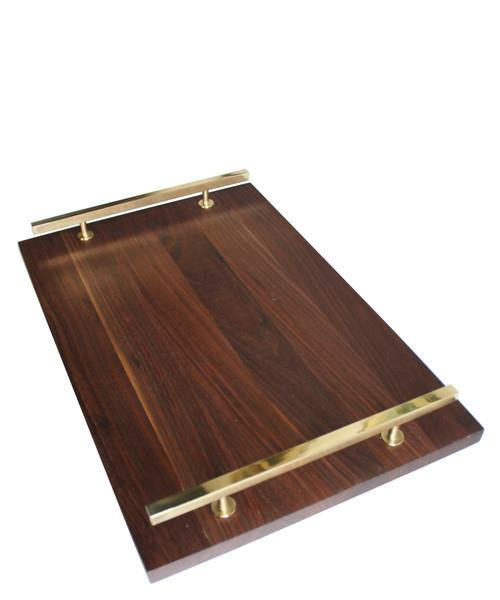 Modern Brown Walnut Serving Tray
