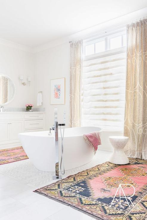 Alyssa Rosenheck White Bathroom With Center Of The Room