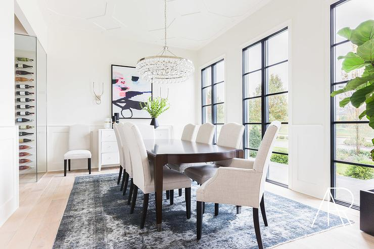 Alyssa Rosenheck   Redo Your House   Fabulous Dining Room Features A Robert  Abbey Bling Chandelier Illuminating A Brown Dining Table Lined With White  ...