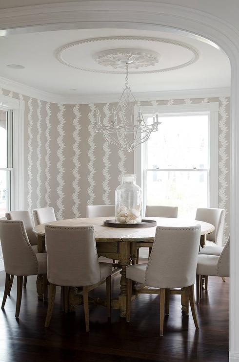 Beige Dining Room with Round Dining Table Seats 10 - Contemporary ...