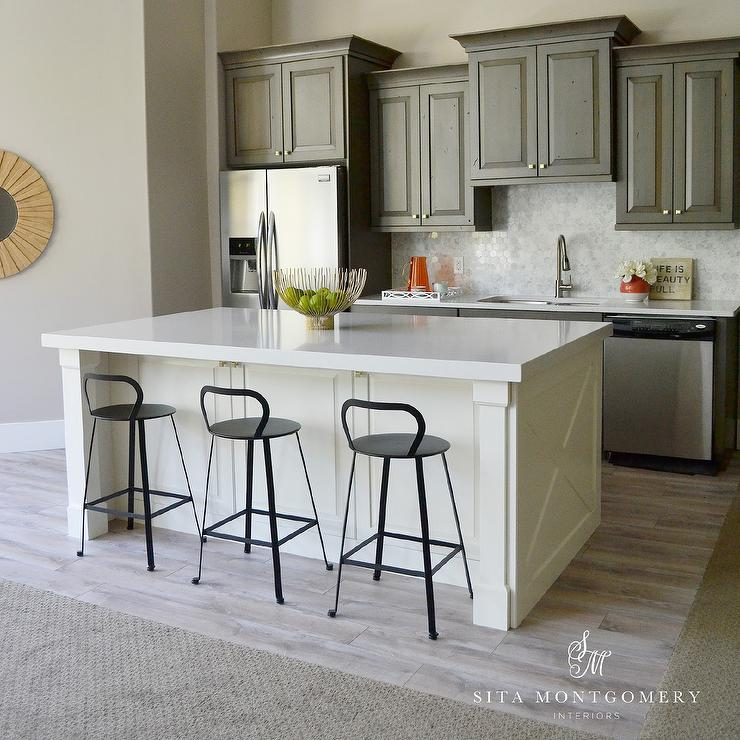 Gray Kitchen Cabinets With Ivory Island