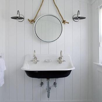 Turquoise Trough Sink With Rope Mirror Cottage Bathroom