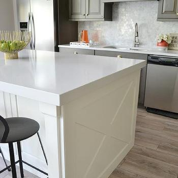 Ivory Kitchen Island With X Panels