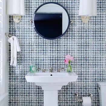 round blue mosaic mirror design ideas