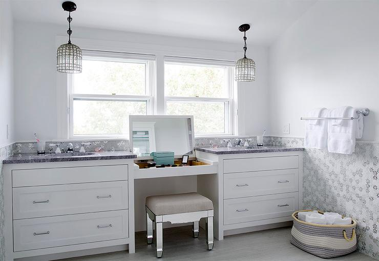 Built In Makeup Vanity With Flip Top Mirror And Mirrored Vanity