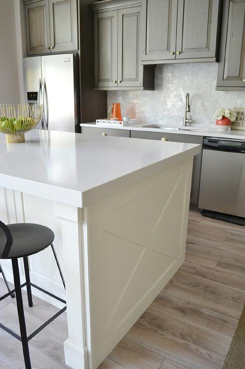 Ivory Kitchen Island With X Panels Transitional Kitchen