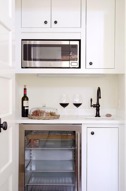 Small Butler Pantry With Microwave And Glass Front