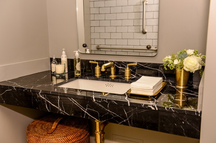 Black Marble Vanity With Gold Faucet Contemporary Bathroom - White bathroom faucet fixtures