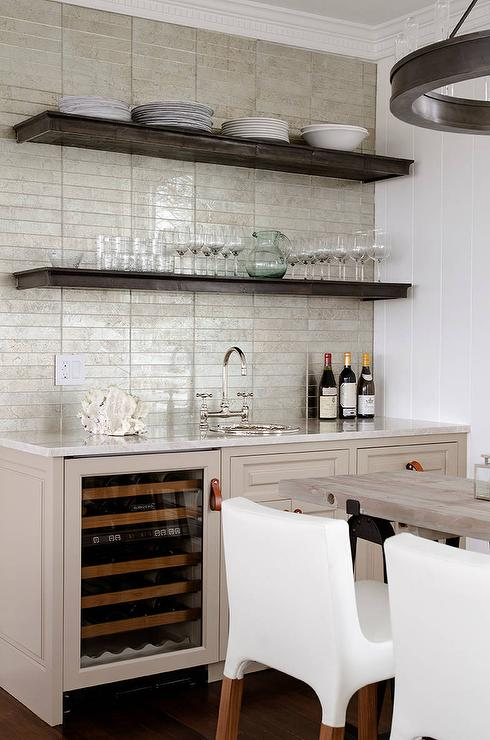 Taupe Kitchen With Zinc Wall Shelves
