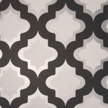 Trellis Wallpaper In Ivory And Black By Antonina Vella
