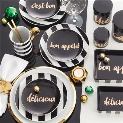 Black And Gold Rosanna Soiree Noire Appetizer Plate Set Of 4