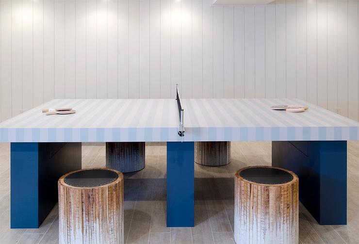Basement Game Room With Blue Striped Ping Pong Table
