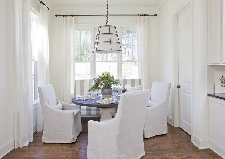 Cottage Dining Nook With Gray Striped Banquette Sofa Cottage Dining Room