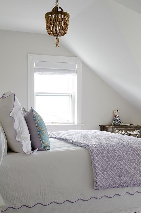 Crystorama eva 1 light mini chandelier over bed dressed in purple crystorama eva 1 light mini chandelier over bed dressed in purple scalloped bedding aloadofball Images