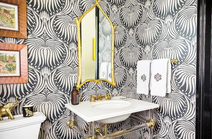 Gold And Black Powder Room With Farrow Ball Lotus Wallpaper