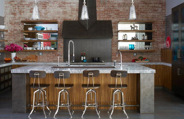 Exposed Brick Walls Transitional kitchen Thompson  : industrial loft kitchen exposed brick walls zebra laminate cabinets from www.decorpad.com size 740 x 478 jpeg 71kB