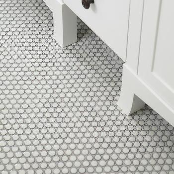 White Penny Floor Tiles Design Ideas