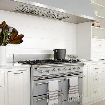 Long Gray Kitchen Hood With Lacanche Chagny Cooking Range