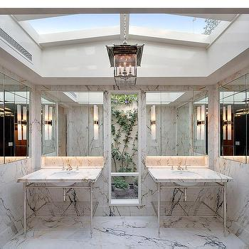 Ordinaire His And Hers Marble Top Washstands With Skylights