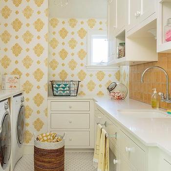 white and gray medallion laundry room wallpaper design ideas