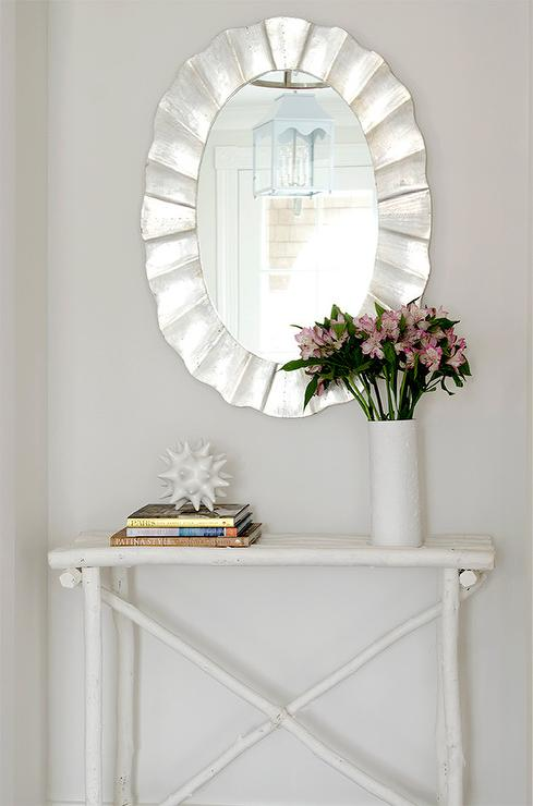 White Faux Bois Console Table With Made Goods Lara Mirror