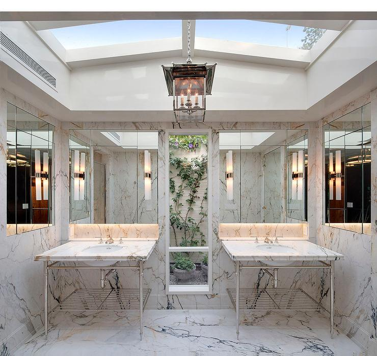 Master Bathroom Ideas For White Interior: Master Bathroom Skylights Design Ideas