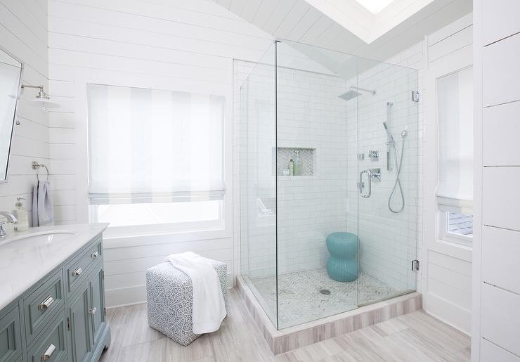 White And Gray Marble Herringbone Shower Floor Design Ideas