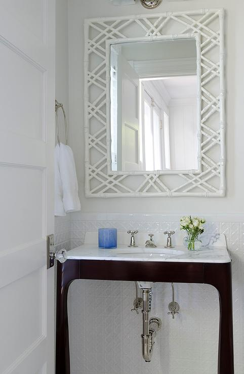 Dark Brown Vanity With White Bamboo Mirror Transitional Bathroom