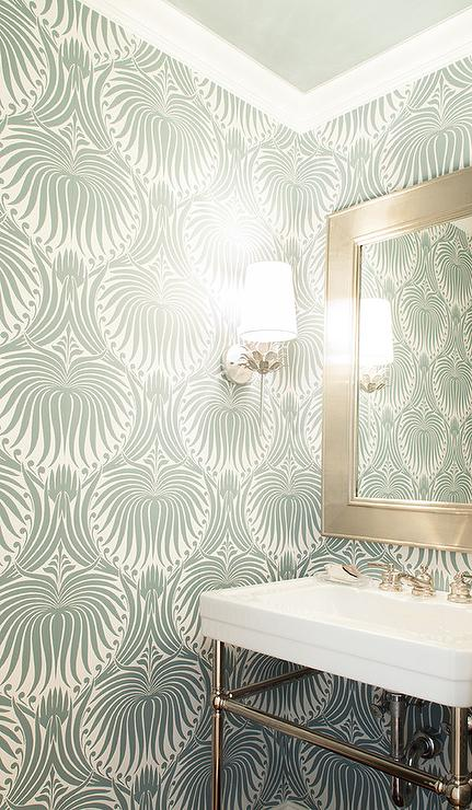 farrow and ball wallpaper White and Silver Powder Room with Farrow and Ball Lotus Wallpaper  farrow and ball wallpaper