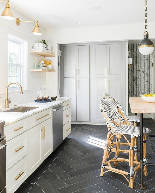 Kitchen With Black Tiles: White And Gold Kitchen With Black Herringbone Floor Tiles