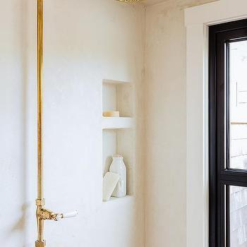 Gold Rain Shower Head. Stucco Shower with Gold Vintage Exposed Plumbing Kit Rain Head Design Ideas