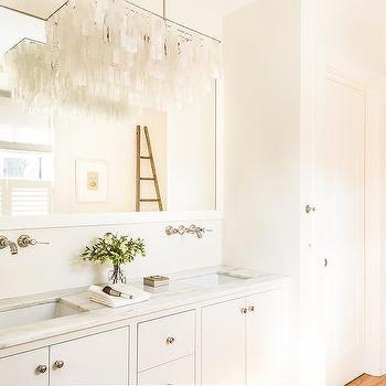 Chandelier over bathroom vanity design ideas west elm large rectangular hanging capiz chandelier over washstand aloadofball Image collections